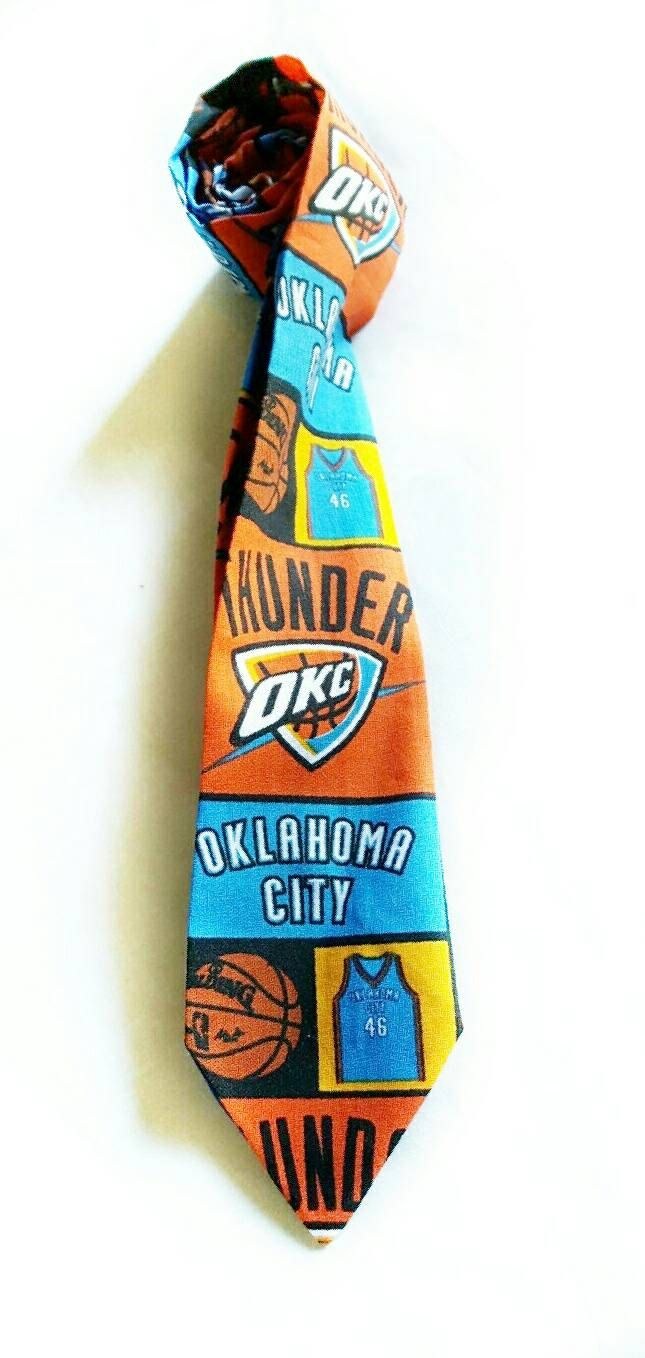 OKC Thunder Neck Tie, Blue and Orange, Basketball Tie, Unisex Neck Tie, Thunder Fans Tie, Full Length Tie, Sports Velcro Tie by GeekFashionSource on Etsy