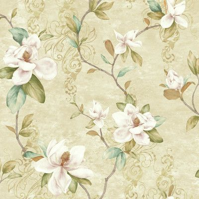 "York Wallcoverings Charlotte Magnolia Trail 33' x 20.5"" Floral Medium / Large Roll Wallpaper Color:"