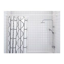 IKEA - UDDGRUND, Shower curtain, The elastic sewn into the bottom edge adds weight to the curtain and assures that it hangs straight.Densely-woven polyester fabric with water-repellent coating.