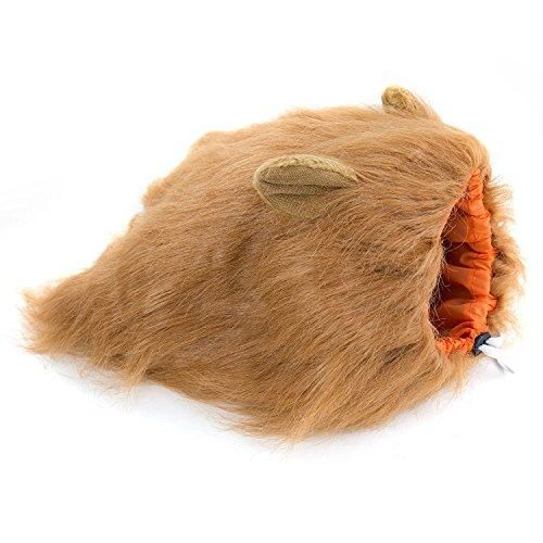 Furryfido Lion Mane -Lion Wig for Medium to Large Sized Dogs with Ears plus Gift - Complementary Lion Mane for Dog Costumes (Brown)