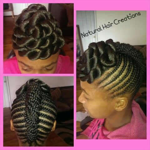 Jumbo twists cornrows braids french roll updo natural hair ...