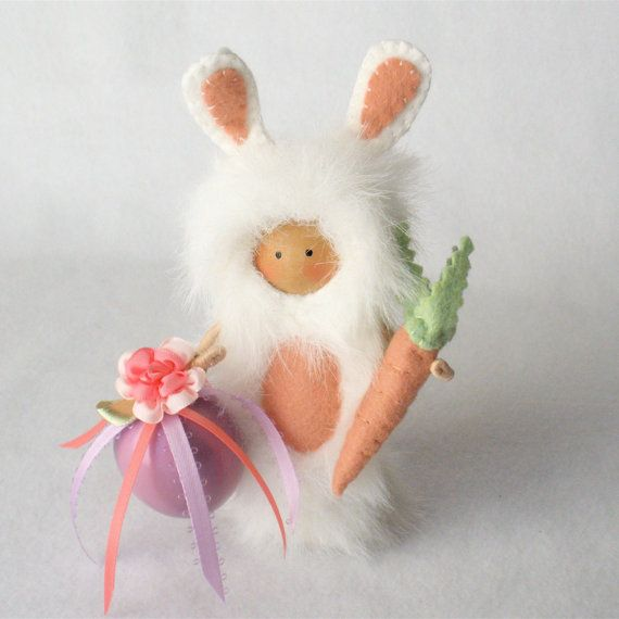 Clothespin Art Doll Easter Bunny Pegtales by HeartStringsHandmade, $40.00