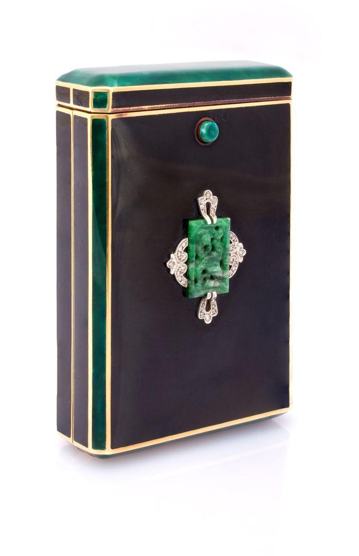 Art Deco Enamel, Jade, Diamond and Gold Cigarette Box. Represented by Kazanjian & Fogarty