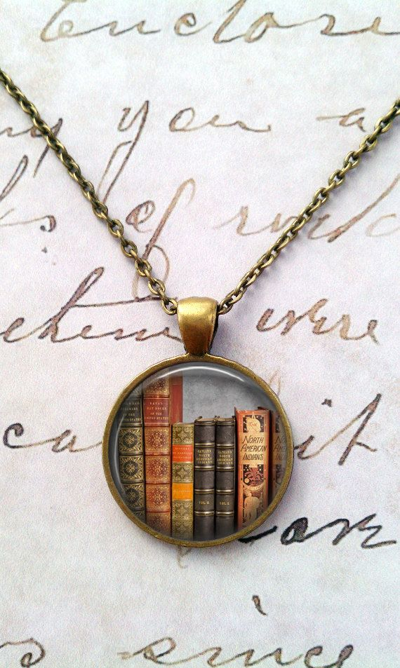 Book Necklace, Keep Calm, Literacy Necklace, Library, Librarian, Heart, Love Books T928