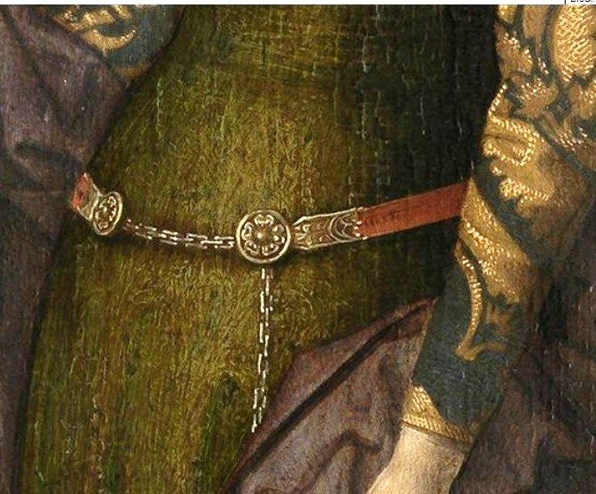 Triptych of Adriaan Reins, by Hans Memling, St Barbara, screen shot showing detail of the demicient belt.