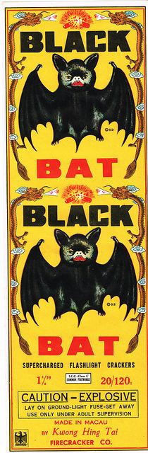 Black Bat Firecracker Brick Label, via Flickr.