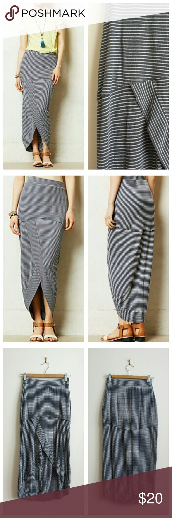 Anthropologie Bordeaux Pembroke Maxi Skirt XS Comfy and adorable, with a high-low hemline that gives a flash of leg. Details: Rooted in high-fashion design and committed to craftsmanship, Bordeaux's fine jersey creations are basics steeped in luxury. Case in point: this wonderfully soft maxi, complete with ribbed detailing and a high-low hem. Pull-on styling Rayon, spandex Hand wash. Size XS (lots of stretch; waist 12.6?, length 33? at longest). Purchased used from eBay but never wore -- no…