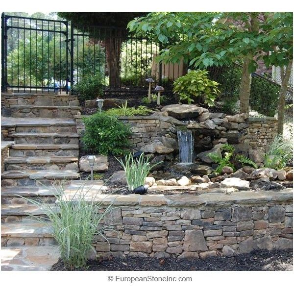 Good Small Waterfall Located In Between Two Ledgecut Fieldstone Retaining Walls Amazing Design