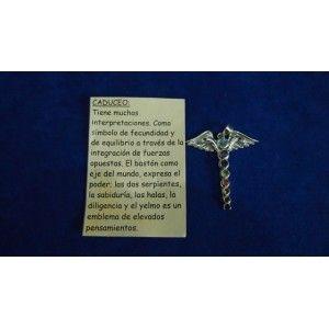 AMULETOS COLGANTES DE PLATA>CADUCEO, Plata con las gemas de los siete chakras