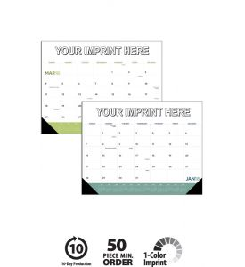 Product: 1D524 2018 Modern Desk Pad Calendar Basic custom imprint setup & PDF proof included! A fresh look on an old classic! This large desk pad calendars features plenty of space for busy schedules with grid colors that change each month. Black vinyl corners included standard Norwood Publishing / 6524