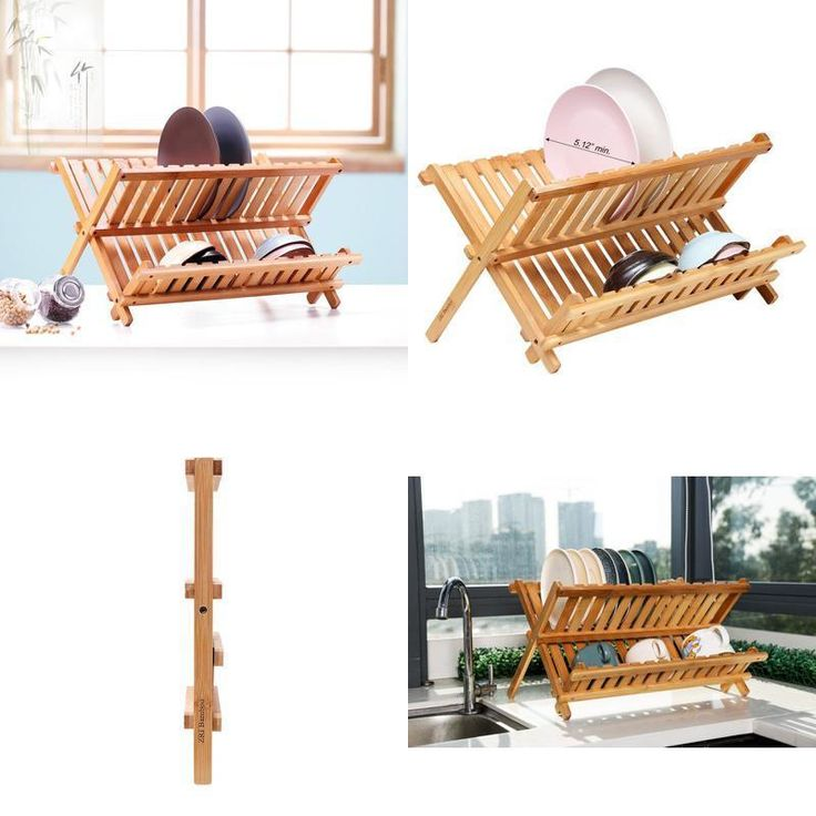Bamboo Folding Dish Rack Drainer Bowl Plate Cup Drying Holder,Kitchen Storage #Ruichang
