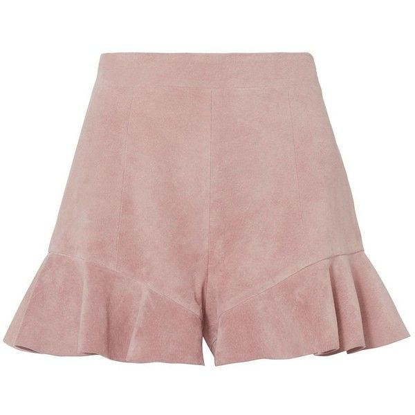 Intermix Women's Emma Suede Ruffle Detail Shorts ($345) ❤ liked on Polyvore featuring shorts, high waisted shorts, tan shorts, high-rise shorts, highwaist shorts and flounce shorts