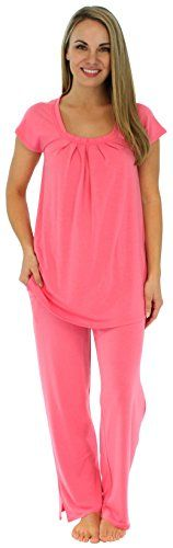 PajamaMania Women's Sleepwear Short Sleeve Pajamas PJ Set (PMR385FUCHSIA-Sml):   Lightweight and wrinkle-free, this relaxed-fitting pajama set from PajamaMania is luxuriously soft and provides tag free comfort. Sizing information: XS (2-4), S (6-8), M (10-12), L (14-16), XL (18-20); if between sizes, choose smaller size/p