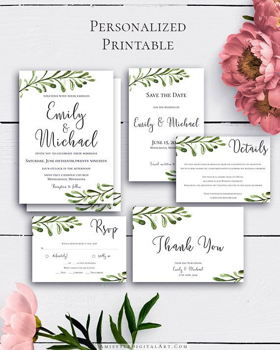 Greenery Rustic Wedding Suite with clear but unique watercolor greenery design in rustic wedding style.Build your suite - choose your card combination by Amistyle Digital Art on Etsy