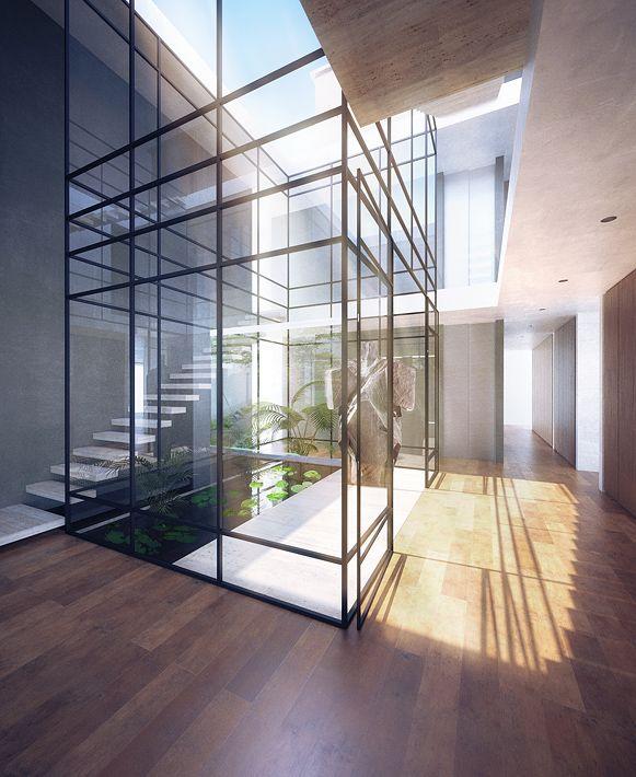 Hallen: Een tuin in huis en toch is het gescheiden van het interieur.
