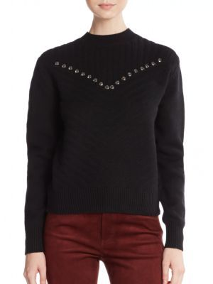 REBECCA MINKOFF Durand Studded Wool & Cashmere Sweater. #rebeccaminkoff #cloth #sweater