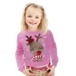 Różowy #Reniferek, taki prezent uraduje każde dziecko, ciepły i miły, w sam raz dla Twojej pociechy. http://swetryswiateczne.pl/pl/