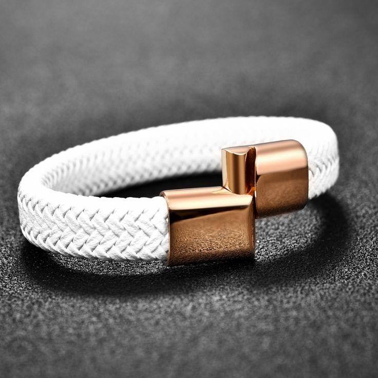 Isn`t it awesome?  Chic Braided Men Bracelet White Leather Bracelet Titanium Ste… – Men's Accessories