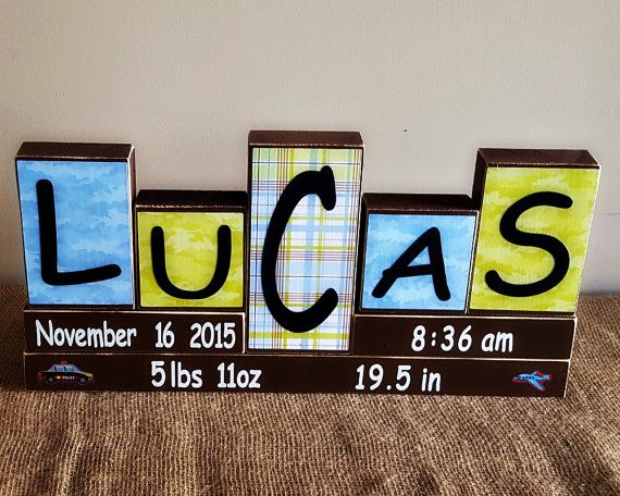 Baby Name Wood Blocks Personalized Birth Stats  by TimelessNotion