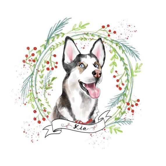Dog Christmas Card Pet Portrait