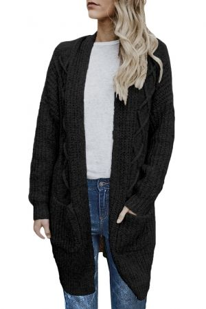 5374fa3eea47f Black Pocketed Cable Knit Cardigan in 2019   Summer 2019   Cardigan ...