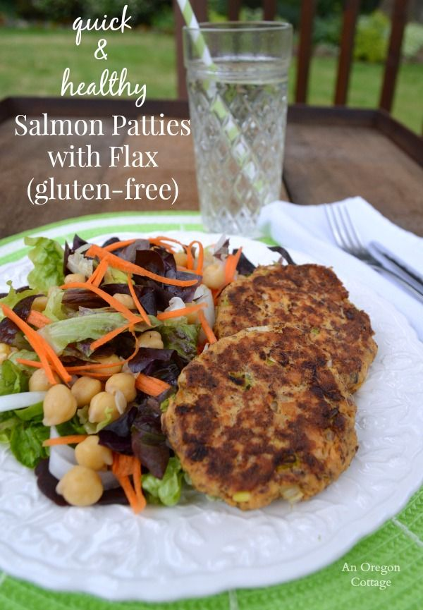 Quick and Healthy Salmon Patties  - An Oregon Cottage (you can substitute with tuna fish and use wheat germ of corn meal instead of flax seed)