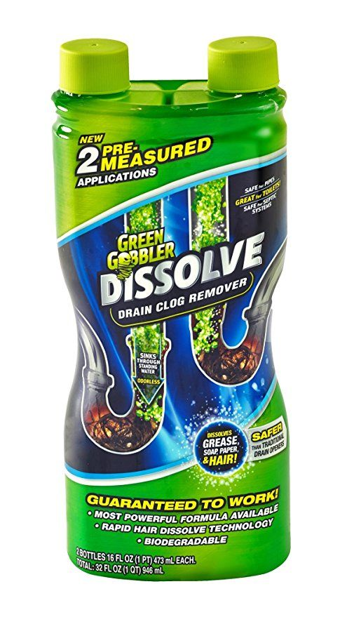 Green Gobbler Ggdis2ch32 Dissolve Liquid Hair Grease Clog Remover