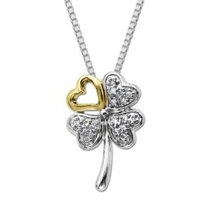 Sterling Silver and 14k Yellow Gold Love Four Leaf Clover Diamond Pendant 18""