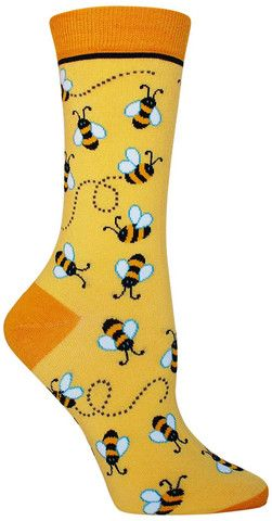 colorful bee novelty socks by foot traffic for women