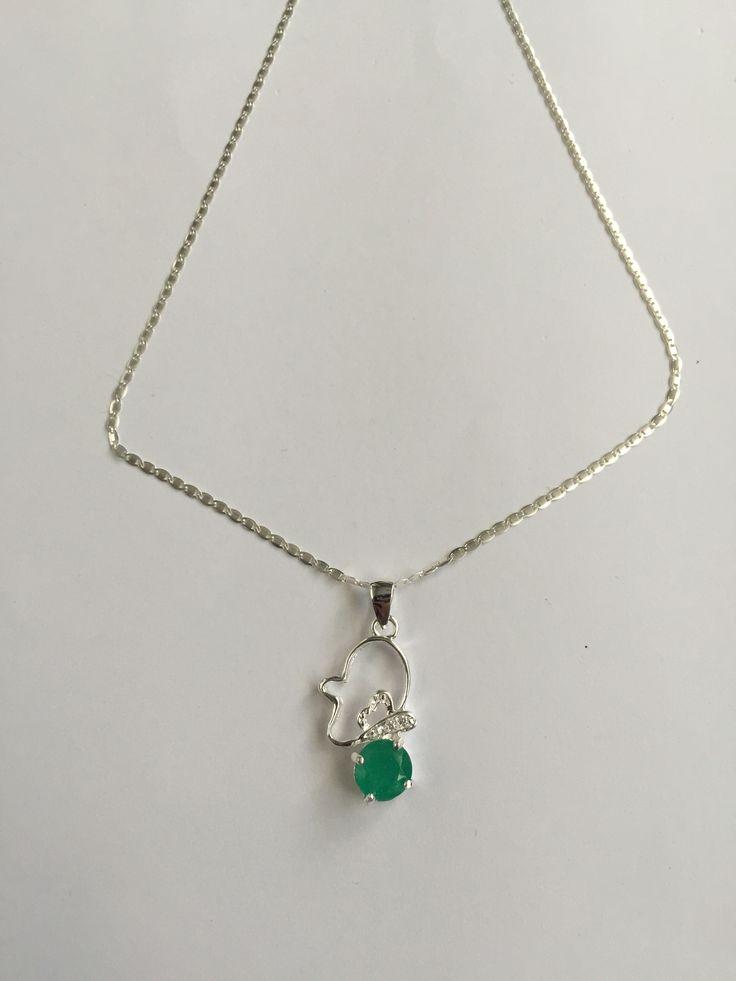joyeria , collar en plata con esmeralda colombiana tipo redonda