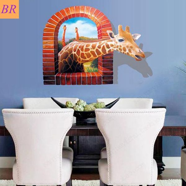 Find More Wall Stickers Information about Free Shipping to Russia Brazil Wall Stickers Lovely 3D Deer pattern removable PVC home wall decor living room wall decal ,High Quality sticker tile,China stickers bee Suppliers, Cheap sticker heart from Funbuy  on Aliexpress.com