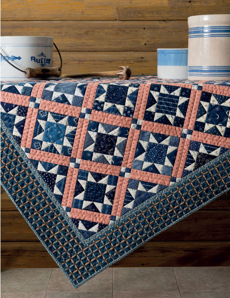 We are in love with this Twilight quilt from Jo Morton - a scatter of scrappy indigos, country blues, and cream shirtings - and that perfect pink