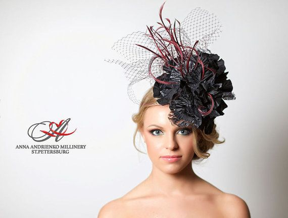 Black and red Fascinator Belle Melbourne cup hat Royal Ascot