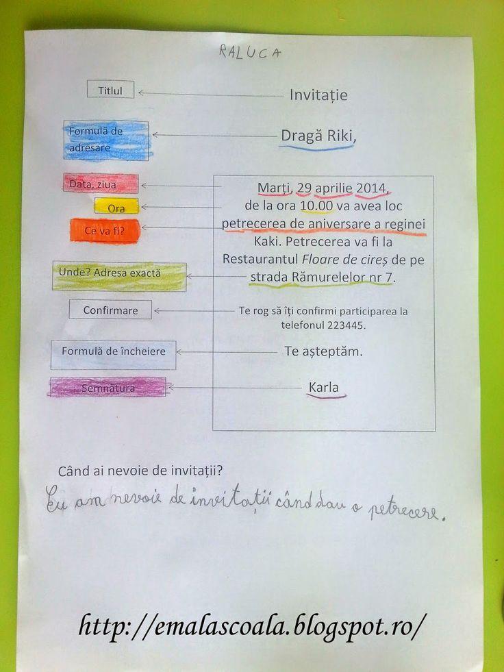 Ema la scoala: Invitatia - cum sa scrii o invitatie