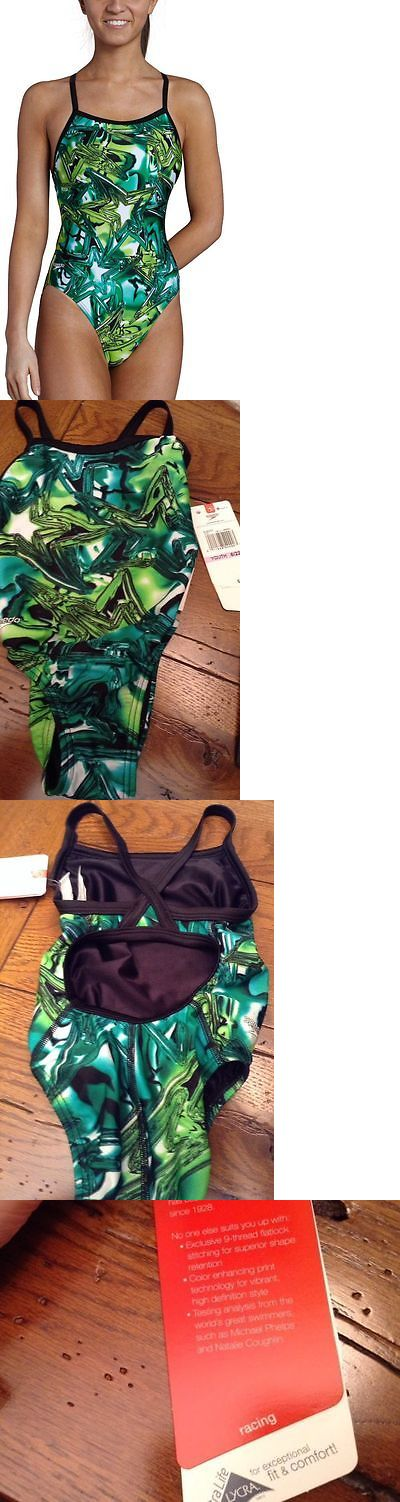 Youth 140037: Nwt Youth Girls Speedo Green Shining Star Flyback Racing Swimsuit 6 22 Msrp $70 BUY IT NOW ONLY: $32.75