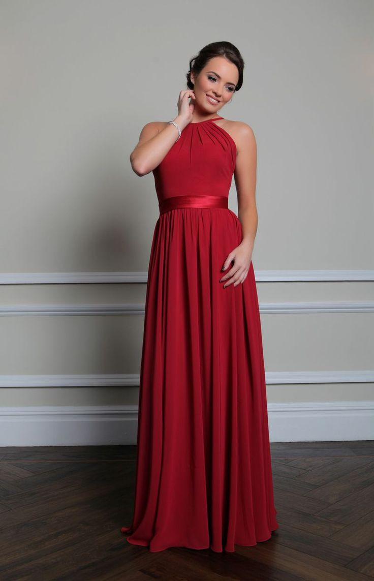 29 best bridesmaids images on pinterest red bridesmaids and sabra beautifully made from chiffon with a satin waistband this dress is floor length with a high neckline with thin straps that carry on down the back to ombrellifo Images