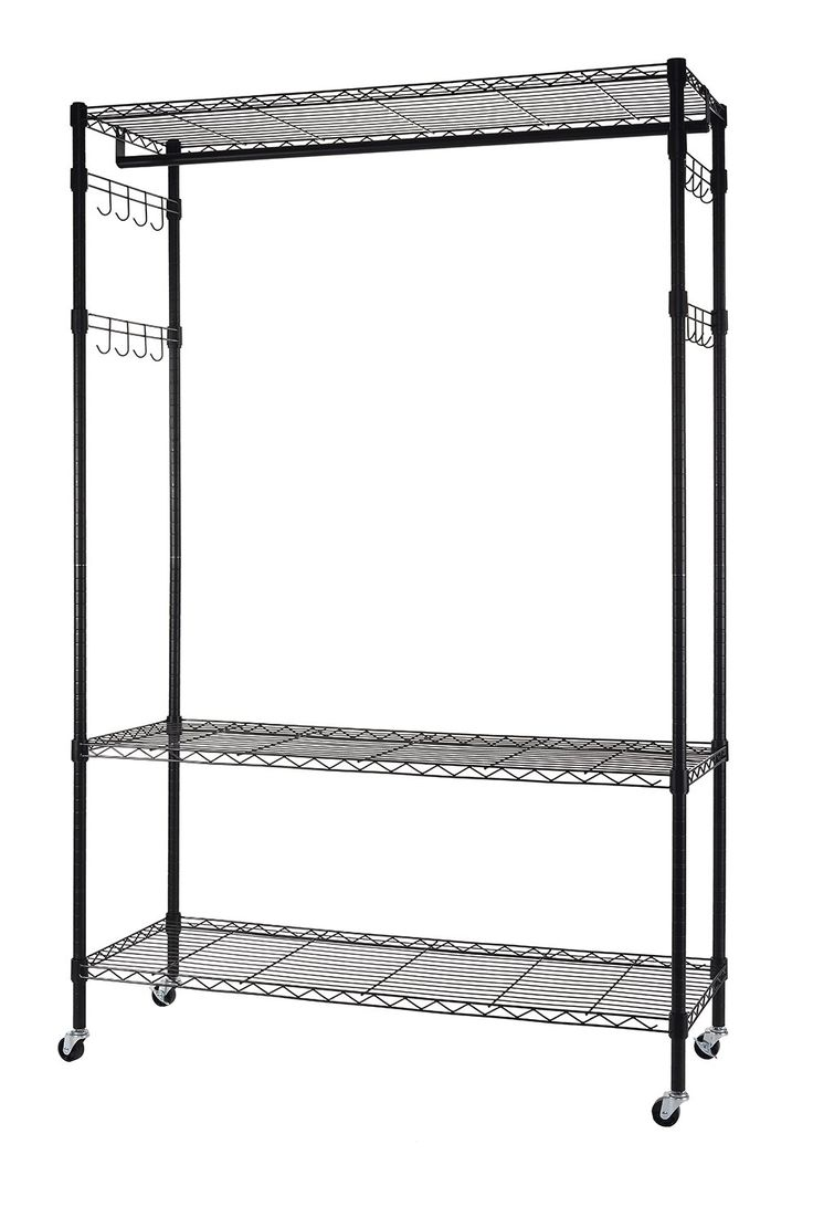 finnhomy heavy duty wire shelving garment rack with wheels rolling clothes rack with shelves and side