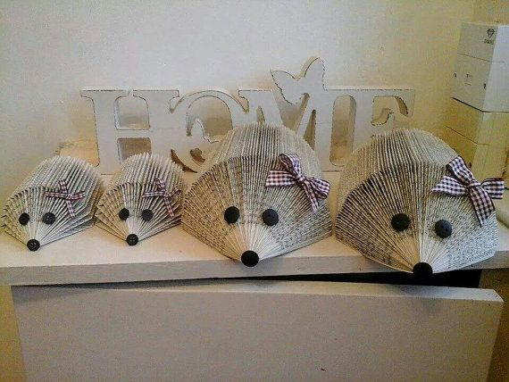 Hey, I found this really awesome Etsy listing at https://www.etsy.com/listing/217427348/handmade-set-of-4-book-folded-hedgehogs