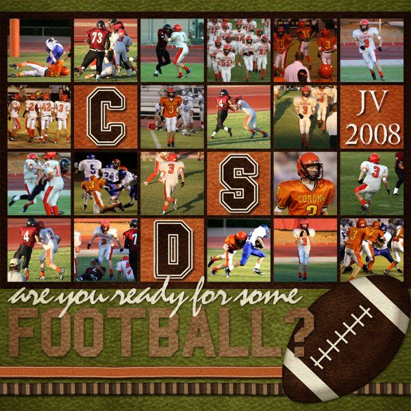 I really like EVERYTHING about this #scrapbook #page #layout - (multiple action photos, little squares, colors, and especially the lively font that makes me think of an all-out scrimmage!) In Oklahoma we could do this page in red & white OR orange & black! Scrapnparadise.webs.com