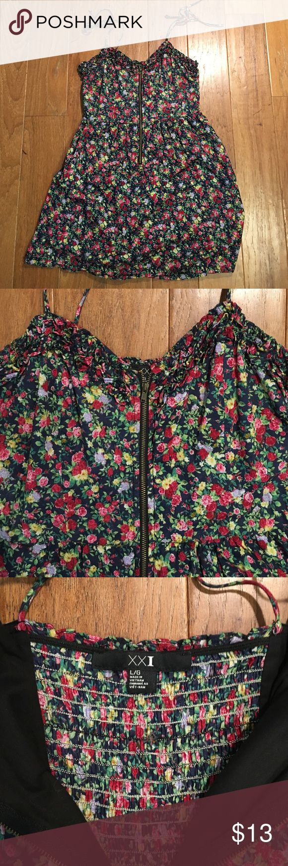 Forever 21 floral zip up dress Only worn once, super cute forever 21 dress large. Navy and pink floral. Zip up front. Tie shoulders Forever 21 Dresses