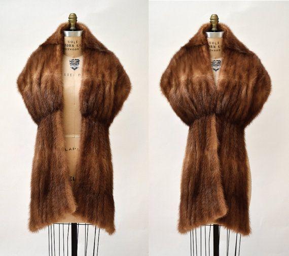 Vintage Mink Fur Stole Brown Vintage Fur Stole by Hookedonhoney
