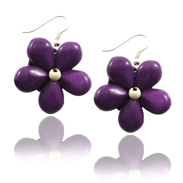 Purple Flower Earrings, Beautiful Handmade Floral Earring, Drop / Dangle Earrings, 925 Sterling Silver Fishhook Earring, Fashion Jewelry for Women, Teens and Girls - Earrings - Mary Grace Design