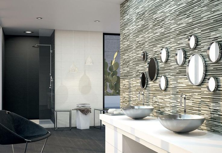different styles of tiles to create a unique bathroom bath and