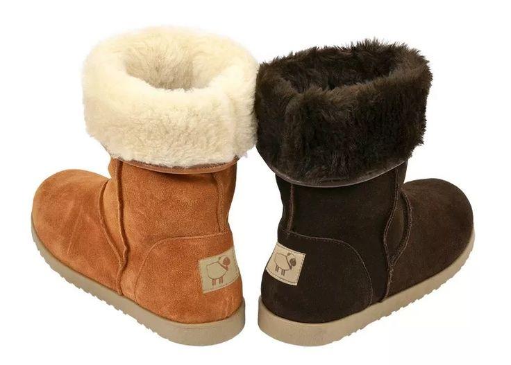 botas para neve tipo uggº forrada com lã de carneiro