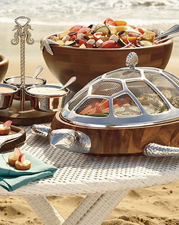 Serve your delicious dishes at your summertime parities in the fun Seahorse Condiment Serveware Collection.