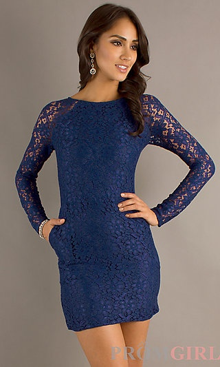 Long Sleeve Lace Dress with Pockets at PromGirl.com
