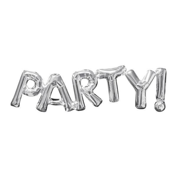 Air-Filled Silver Party Letter Balloon Banner