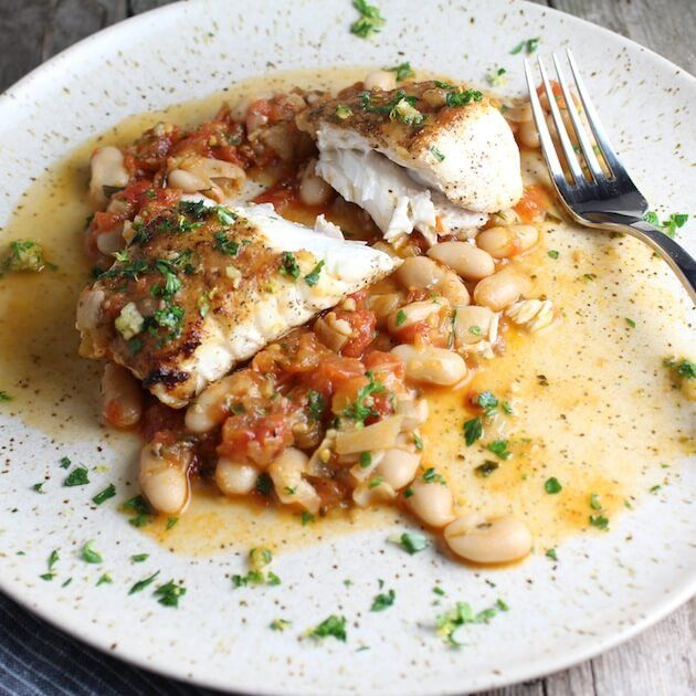 Pan seared halibut with white beans and gremolata recipe for Halibut fish recipes