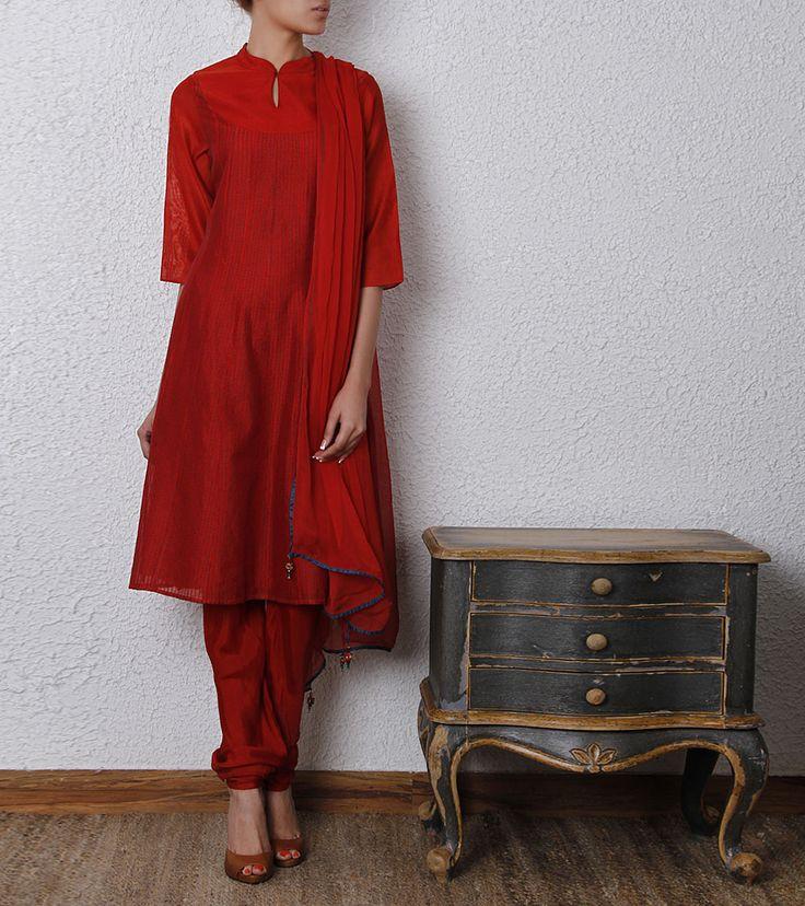 Red Cotton Silk Churidar Set