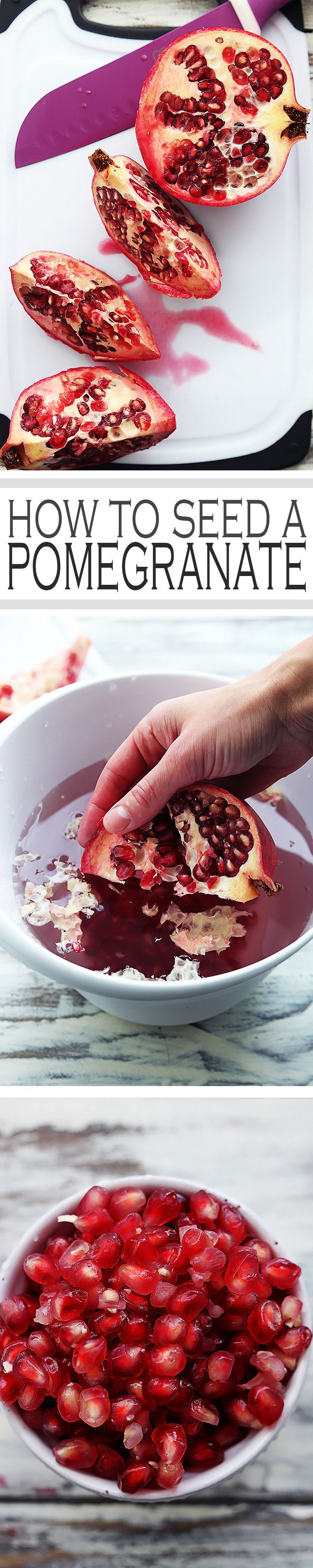 A simple step-by-step tutorial and video for how to seed a pomegranate the quick and easy way!
